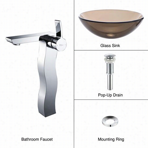 Kraus C-gv-103-12mm-14600ch Clear Brown Glass Vessel Sink And Sonsu Faucet In Chrome