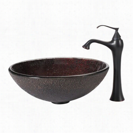 Kraus C-gv-570-12mm-15000orb Callisto Glass Vessel Penetrate And Ventus Faucet In Oil Rubbed Bronze