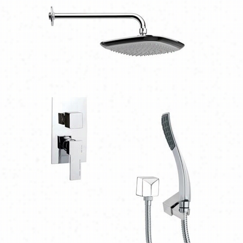 "Remer Bt Nameek's Sfh6115 Orsino 2-4/5"""" Contemporary Square Howr System In Chrome With 4-4/7""""h Diverter"