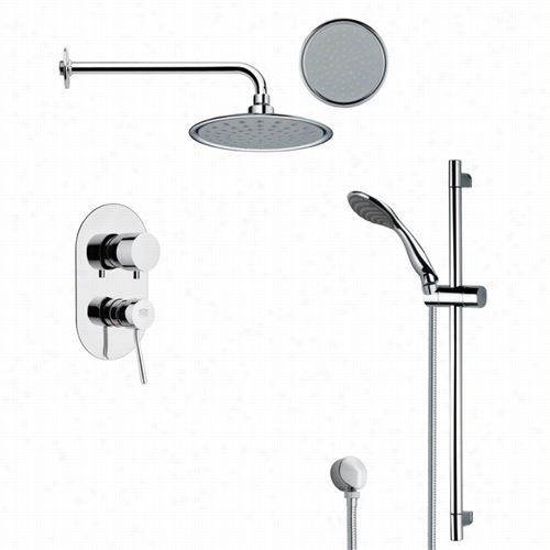 "Remer By Naneek's Sfr7137 Rendino Round Sleek Rain Hower Faucet Set In Chrome With 27-1/6""""h Shower Slidebar"