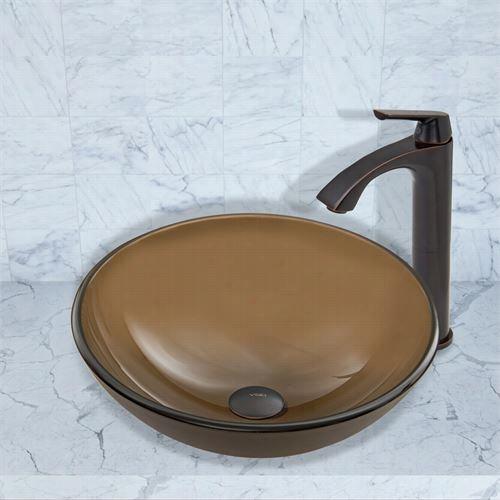 Vigo V Gt7700 Mere Sepia Glass Vessel Sink And Linsu Faucet Set In Antique Rubbed Bronze