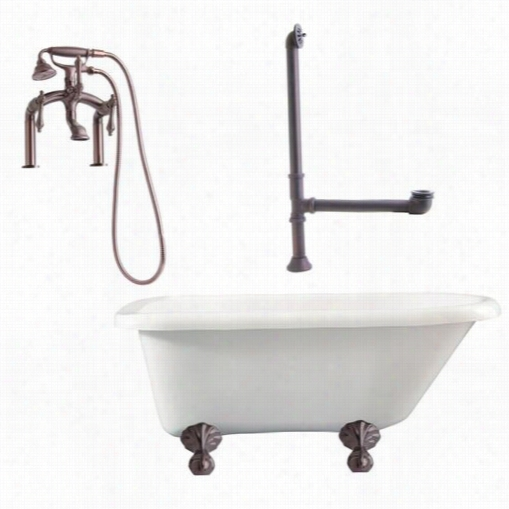 """Giagni La3 Augusta 54&quog;"""" Roll Top Tub Kitwith Ball Claw Feet, Drain, Supply Lines And Deck Mount Lever Handles Faucet"""