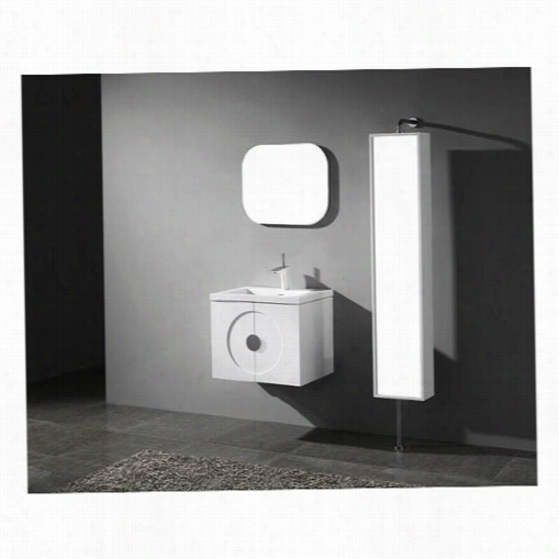 """Madeli B923-24-0002-gwgts1808-24-110-w W Palermo 24"""" """" Wall Hung Vanity In Glossy White With Winterw Hite Ttempered Glasstop And Single Faucet Hole"""