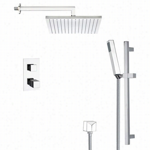 """Remer By Nameek's Sfr7403 Rendino Modren Thrmostatic Shower Faucet  In Chrome With Glide Rai And 11-4/5""""""""w Shower Head"""