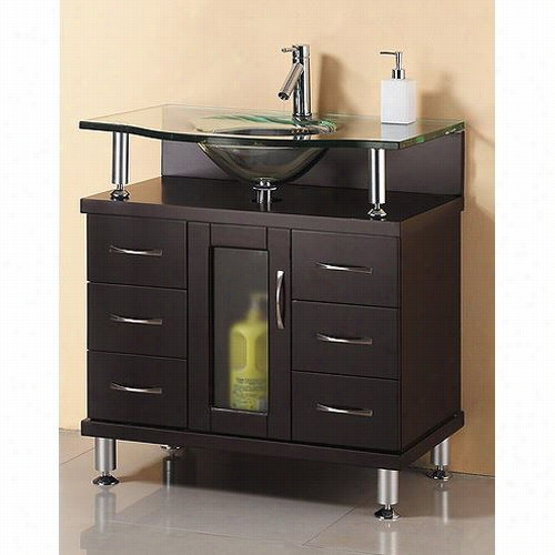 Virtu Usa Ms-32 Vincnte 32 Inch Espresso Bathroom Vanity Without Faucet - Vanity Top Include