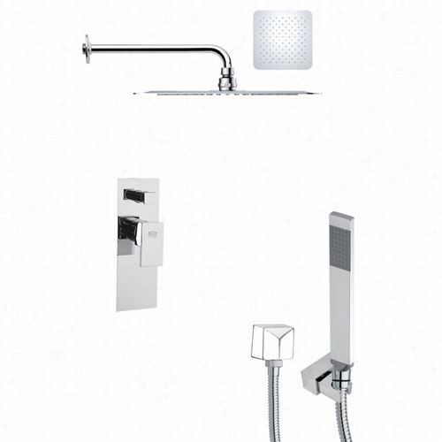 "Remed B Ameek's Sfh6127 Orsino 19-1/2"""" Contem Porary Square Shower System In Chrome With 5-12/""""h Diverter"