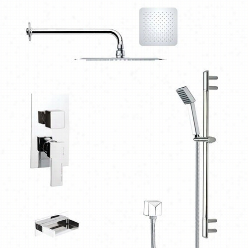 """Remer By Nameek's Tsr9118 Galiano Tub And Rain Shower Faucet In Chrome Attending Slide Rail And 2-5/9""""""""w Handheld Shower"""
