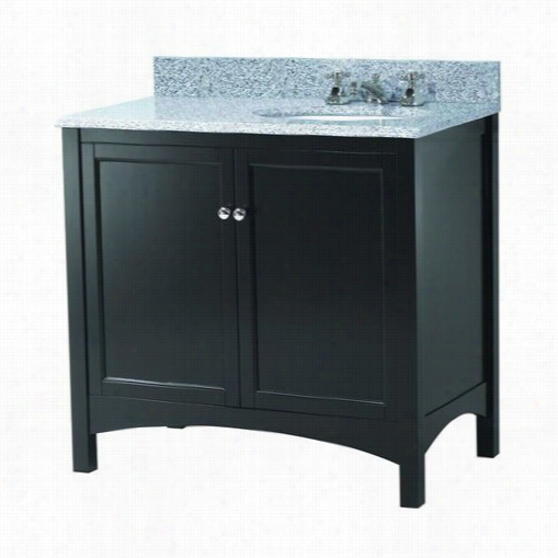 """Foremost T Reana3722rb Haven 37&q Uot;"""" Vanity In Espresso With Napoli Granite Top With Right Offset Basin - Vanity Top Included"""