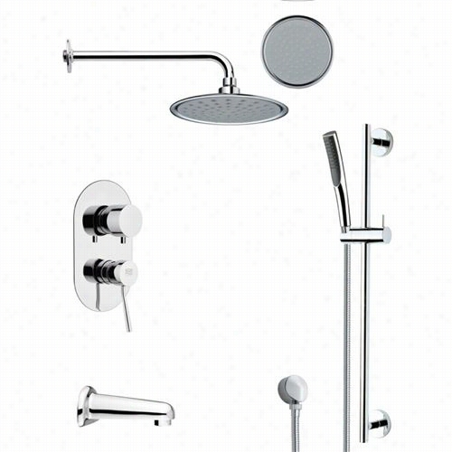"""Remer By Nameek's Tsr9139 Galiano Round Tub And Rain Shower Faucet Set Ni Chrome With 8-2/3""""&qut; H  Diverter"""