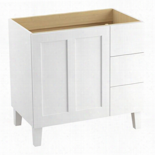 "Kohler 99533-lgr Poplin 3 6"""" Legs Vanity Cabinet Only With 1 Door And 3 Drawers On Right"