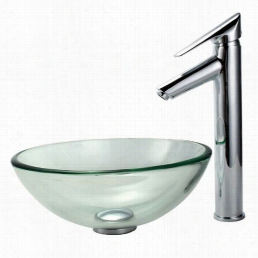"""Kraus C-gv-101-1 4-12mm-1800ch Clear 14"""""""" Glass Vessel Sink And Decus Faucet"""