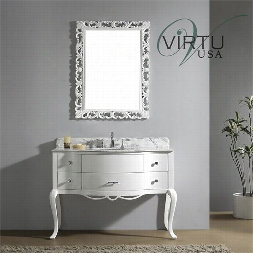 "Virtu Usa Gs-6148-wm-wh Hcalrotte 48"""" Single Sin K Bathroom Vanity In White With Italian Carrara White Marbl E - Vanityy Top Included"