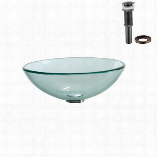 Kraus Gv-101-o Rb Clear Glass Vessel Sink With Pop Up Drain And Mount Ing Ring In Oil Ubbed Bronzee