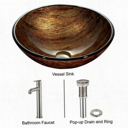 Vigo Vgt163 Amber Sunset Bathroon Vesel  Sink In Multicolor With Brushe D Nickel Faucet
