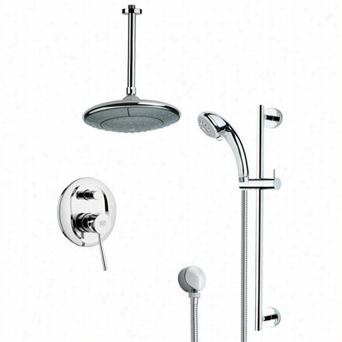 "Remer By Nameek's Sffr7005 Rendino Sleek Round Ain Shower Faucet Set In Chrome With 6-1/9""""w Diverter"
