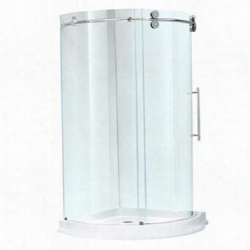 """Vigo Vg6031chcl40wr 40"""""""" X 40"""""""" Frameless  Roudn 5/16"""""""" Clear/chrome Shower Enclosure Right Sided Door Withw Hite Base"""