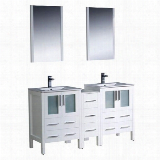 "Fres Ca Fvn62-241224wh-uns Torino 60"""" Modenr Double Sink Bathroom Vanity In White With Side Cabinet And Undermount Sinks - Vanity Top Included"