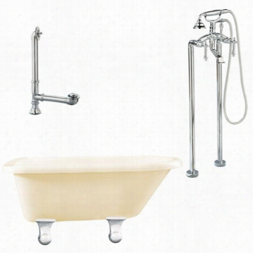 """Giagni Lb2-pc-b Brighton 60"""""""" Bisque Roll Top Tub With Floor Mount  Faucet In Polishe Dchrome"""