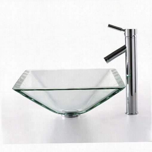 Kraus C-gvs-901-19mm-1002ch Clear A Quamarine Glass Vessel Sink And  Sheven Fauect In Chrome