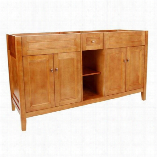 """Foremost Tria6022d Exhibit 60"""""""" Double Sink Vanity Cabinet Only In Rich Cinnamon"""