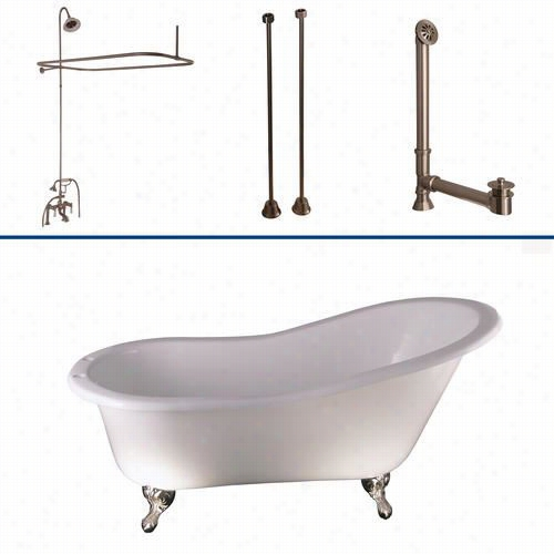 "Baarclay Tkcts7h67 67&quit;"" Cast Iron Slipper B Athtub Kit In White With Porcelain Lever Handle And Riser, Sgowerhead, Rectangular Shower Rod"