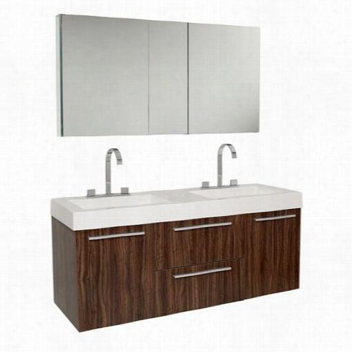 Fresca Fvn8013gw Opulento Modern Double Sink Bathroom Vanity With Medicine Cabinet In Wzlnut - Vanity Top Included