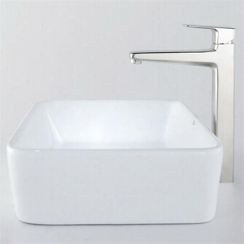 """Kraus C-kcv-121-15500bn 19-1/5"""""""";l White Rectangu Lar Ceramic Sink And Virtus Faucte In Bbrushed Nickel"""