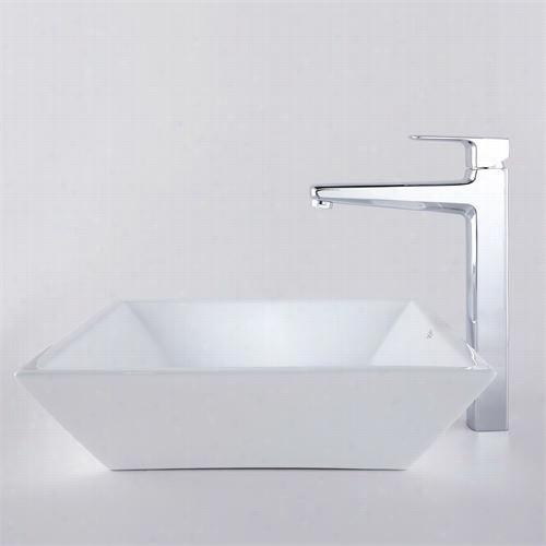 "Kraus C-kcv-125-15500ch 16-4/5""""l White Square Ceramic Sink And Virtus Faucet In Chrome"
