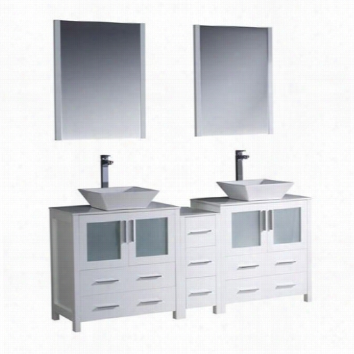 """Fresca Fvn62--301230wh-vsl Torino 72"""""""" Modern Double Sink Bathroom Vanity In Whit Ewith Side Cabinet And Tube Sinks - Vanity Top Included"""