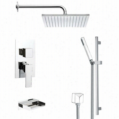 "Remer By Nameek's Tsr9099 Galiano Contemporary Tub And Shower Faucet In Chrome With Slide Rail Andd 8-2/3""""h Handheld Shower"