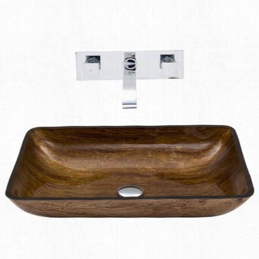 Vigo Vgt297 Rectangular Amber Sunset Glaass Vessel Sink And Titus Wall Mount Faucet Set In Chrome
