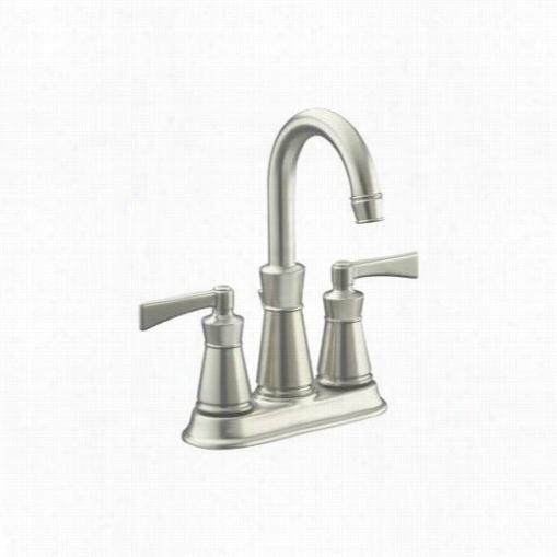 "Kohler K-11075-4-bn Archer Bathroom Faucet With 4"""" Centers Vibrant Brushed Nickel"