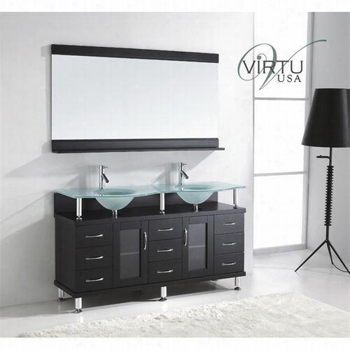 "Vitru Sua Md-61-fg-es Rocco 61""&quo;t Espersso Double Sink Bathroom Vanity - Vanity Top Included"