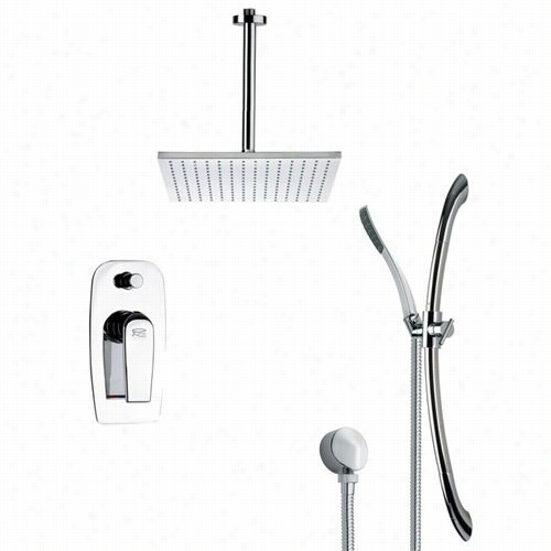 """Remer By Nameeo's Sfr7096 Rendino Contemporary Square Shower Faucdtt Set In Chrome With 6-1/9""""""""w Diverter"""