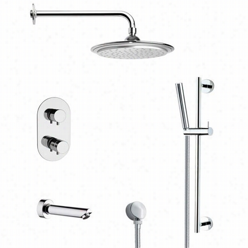 """Remer By Nameek's Tsr9407 Galiano Round Thermostatic Tub And Shower Faucet In Chrome With Slide Rail And 3-2/9""""""""w Handheld Shower"""
