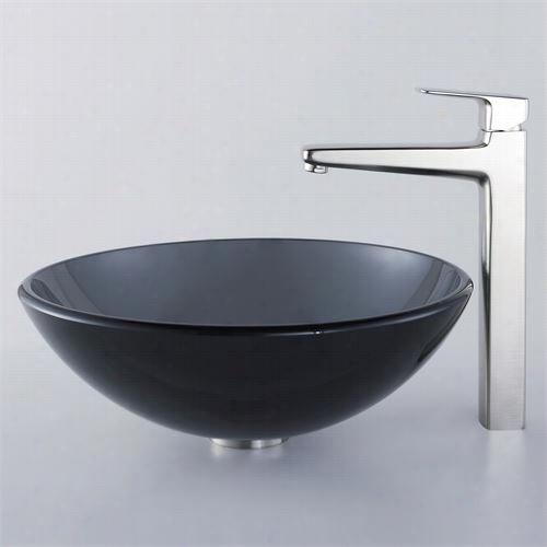 Kraus C-gv-104-12mj-15500bn Clear Black Glass Vessel Sink And Virtus Faucet In Brushed Nickel