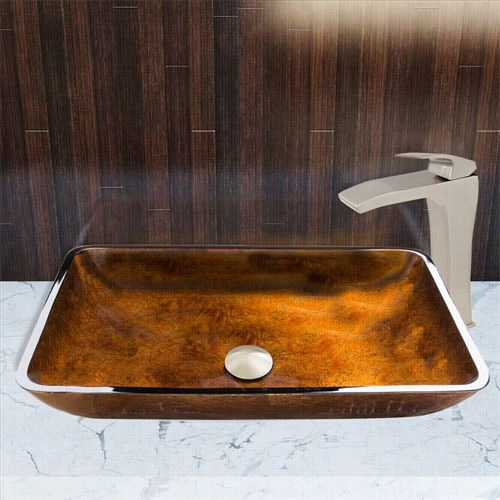 Vigo Vgt911 Rectangular Russet Glass Vesesl Sink And Blackstonian Fa U Cet Set In Brushed Nickel