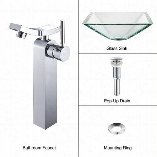 Kraus C-gvs-901-19mm-14300ch Lear Aquamari Ne Glass Vessel Snk Nad Unicus Faucet In Chrome