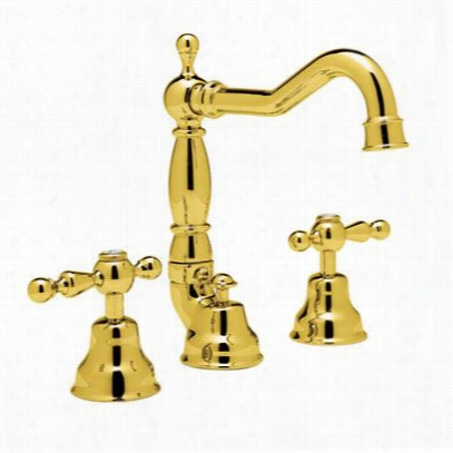 Rohl Ac109lp-ib Cisal  3  Hole Widespread Lavatory Faucet In Inca Brass With White Resin Lever