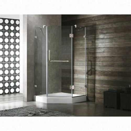 "Vigo Vg6062chcl38w 38"""" X 38&auot;"" Frameless Neo Anglee 3/8q&uot;&q Uot ; Shower Enclosure In Clear/chrome With White Basee"