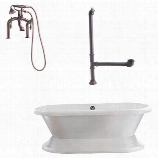 """Giagni Lw3 Wescott 72"""""""" Dual  Tub With Plinth, D Eck Risers, Drain, Deck Mount Lever Handle5 Faucet Ans Hand Shower"""