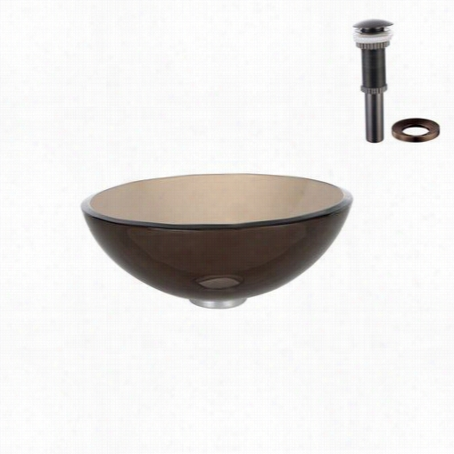 "Kraus Gv-103-14--rb Clear Brown 14&auot;"" Glass Vessel Sink With Pop Up Drain And Mounting Ring Iin Oil Rubbed Bronze"