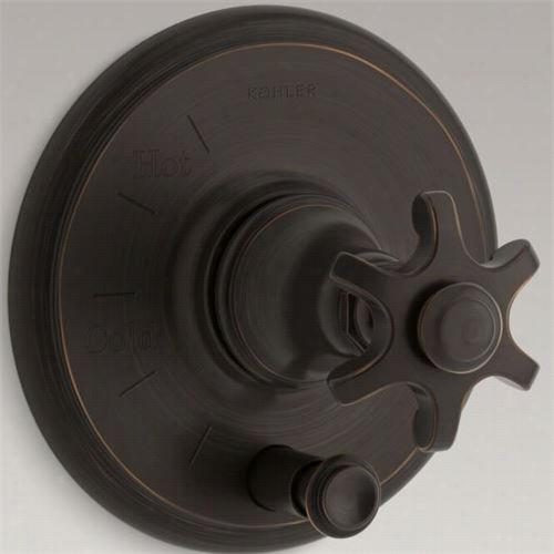 Kohler K-t72768-3m Artifacts Rite Temp Valve Trim With Diverter And Prong Handle
