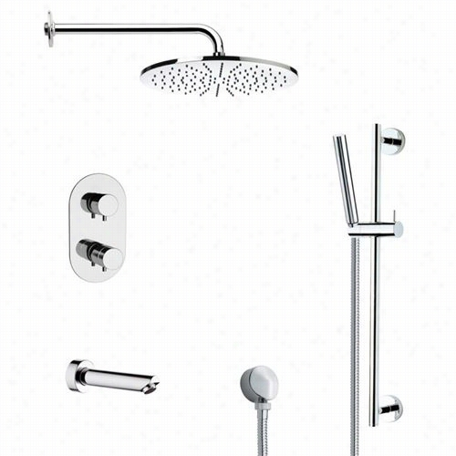 "Remer By Nameek's Tsr9409 Galiano Round Thermostatic Tub Nad Shower Faucet In Chrome With Glide Rakl And 3-1/7""""w Handheld Shower"