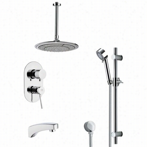 "Reeer From Nameek's Tsr9002 Galiano Modern Rain Shower System In Chrome With 3-1/3""""w Shower Slidebar"