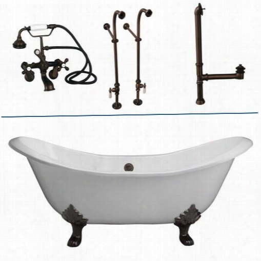 "Barclay Tkctdsn 71"""" Caxt Iron None Holes Double Slipper Bathtub Kit In White With Metal Cross Handle"