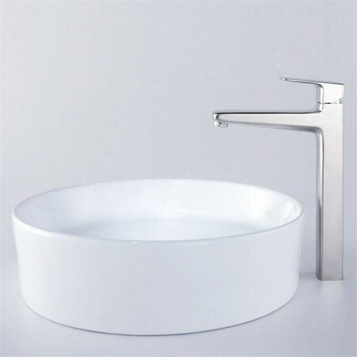 "Kraus C-kcv-140-15500bn 17-2/3""&qut;d White Onud Ceramic Sink And Virtus Faucet In Brushed Nickeel"