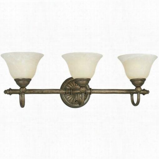 Progress Lighting P3159-86ebwb Savannah 3 Light Bath Wall Sconce With Antique Laabster Glass In Burni Shed Chestnut