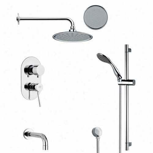 "Remer By Nameek's Tsr9137 Galiano Round Ttub And Ran Shower Faucet Set In Chrome With 3""""w Handheld Shower"