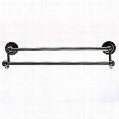 """Top Knobs De11apf Edwardian Bath 30&quuot;"""" Double Towel Rod With Rope Backplate In Antique Pewter"""
